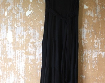 ON SALE vintage. 70s Sleeveless Black Maxi Dress // S to M