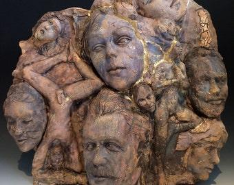 Ceramic Art Wall Sculpture Group Figure Portrait Bust Kintsugi Nude Yoga Statue Crack Texture Mature Adult
