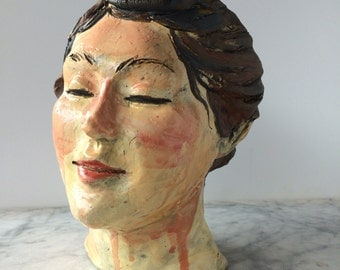 Bust Of A Woman, Ceramic Portrait Sculpture Head, Wall Art Face