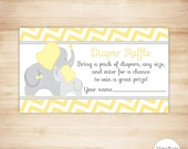 Yellow Elephant Diaper Raffle Tickets - Gender Neutral Baby Shower - PRINTABLE - INSTANT DOWNLOAD
