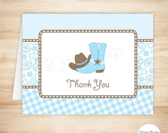 Cowboy Thank You Card Template - Cowboy Folded Thank You Card - Light Blue Brown and Paisley Gingham - PRINTABLE, INSTANT DOWNlOAD
