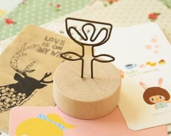 Flower Wood Memo Clip Card Holder