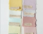 Special Order for Kristen, ten specific 3x5 inch sheets of handmade abaca kozo paper and ten 6 x 8 inch shees of neutrals.