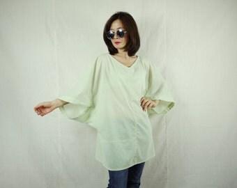 Boho Casual Elegant Plus Size 3/4 Sleeve Drop Shoulder V Neck Azo Free Color Light Green Light Cotton Blouse Women Top - SM699