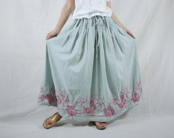 Boho Funky Chic Casual Blue Grey Light Cotton Skirt With Lining And Floral Embroidered hem Freesize Skirt Fit From Size 10 To 2X