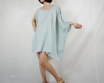 Sleeveless With One-Side Poncho Styling Wide Scoop Neck Asymmetrical Hem Azo Free Color Blue Grey Light Cotton Blouse Tunic Top