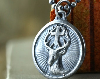 Deer Necklace, Mens Cross Necklace, Christian, St. Hubert, Unisex, Religious Medal Reproduction, Rustic Sterling Silver