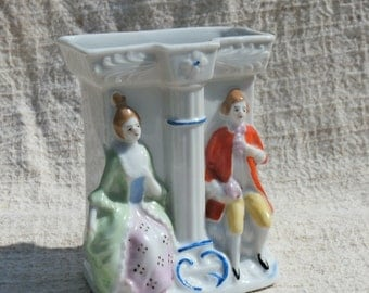 Victorian Couple Vintage Japan Made Spill Vase, Circle Y