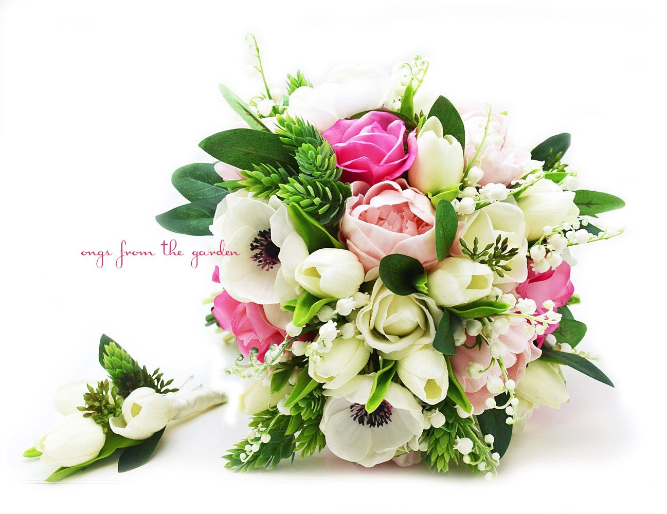 Real Touch Bouquet Anemones Lily Of The Valley Peonies Tulips