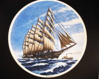 Sailing Ship Preussen Collectors Plate By Pabate Japan 10-1/4""