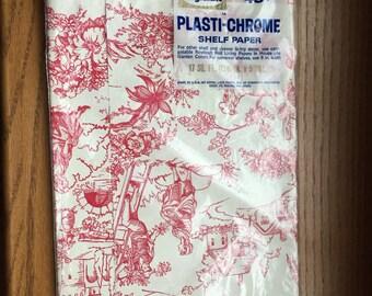 Vintage Shelf Liner Roylcraft Plasti-Chrome Red White French Toile