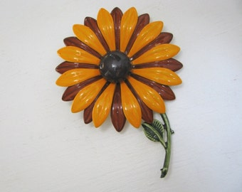Awesome vintage brown and gold enamel flower pin brooch with stem