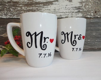 Wedding Coffee Mugs with Date of Wedding, Mr and Mrs Coffee Mug Set, Wedding Gift, Bride and Groom Mugs - SET OF 2!!