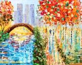 Custom original oil painting Central Park Autumn by Karen Tarlton - final payment for Jon