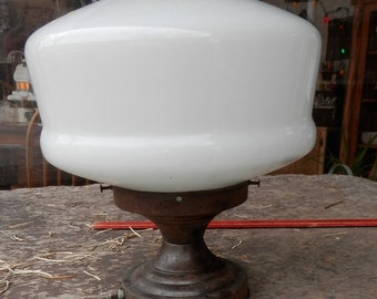 1 vintage original school house light with base ready to rewire