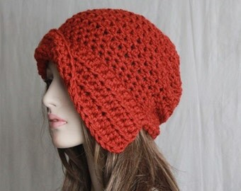 Winter 1920s Style Cloche Hat, Crochet  Asymmetrical Brim Hat Womens Terracotta Hat Fall Fashion  Brim Hat