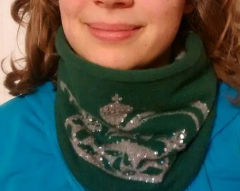 Cashmere cozy neckwarmer, tube scarf, reversible, one size, green, crown, sparkle, bling, womens