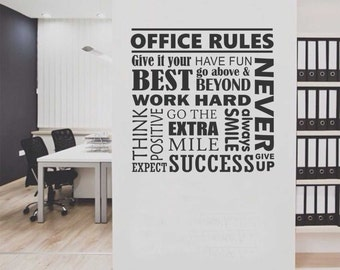 Office Rules Collage, Vinyl Wall Lettering, Vinyl Wall Decals, Vinyl Letters, Vinyl Lettering, Wall Quotes, Office Decal