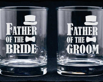Father of Bride Glass, Father of Groom Glass, Etched Wedding Glasses, Personalized Gift, Etched Whisky Glass, Wedding Party Favor