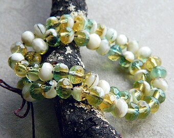 5x7mm Czech Rondelle Beads, Fire Polished beads, facetted glass donut beads, Marbled Ivory, Topaz and Emerald (30pcs) NEW
