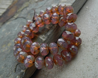 Opal Pink Picasso Czech glass rondelle beads, Fire polished faceted donut beads, 6X9mm glass rondelles, glass donut beads (20pcs) NEW