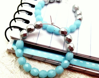 Blue Silver Hoops, Gypsy Earrings, Bridesmaid Gifts, Teen Girl Earrings, Small Boho Hoops, Boho Thin Hoops, Minimal Earrings, Colorful Hoops