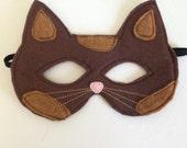 Children's Brown Felt Calico Cat Mask - Handmade, Kid's, Child's, Dress Up, Costume, Halloween, Kitty