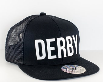Black Roller DERBY Hat || Snapback Cap || Flat Bill Hat || Roller Derby Clothing