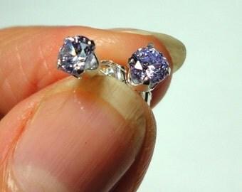 Tanzanite Stud Earrings in Solid Sterling Silver