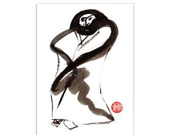 Bodhidharma, zen Chinese patriarch Buddha, original zen painting, sumi ink, japanese art, inspirational art, zen decor, taoist, buddhist art