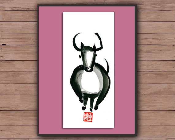 Ox, Year of the Ox for Chinese New Year Zodiac, zen sumi ink painting, japanese illustration, zen decor, childrens room art, scroll like
