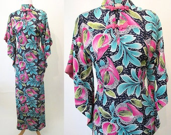 "Beautiful 1950's Hawaiian rayon floral print pake muu dress by ""Liberty House of Waikiki""  tiki dress rockabilly pinup girl Size small"