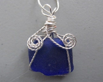 Seaglass Necklace, Blue Pendant Jewelry, Wire Wrapped Pendant, Beach Glass Jewelry, Noxema Pendant, Wrapped Sea Glass, Gift for Her