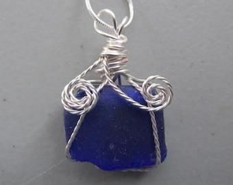 Beach Seaglass, Necklace Jewelry Blue, Wire Wrapped, Beach Glass Jewelry
