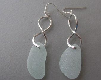 Seaglass Dangle Earrings, Sea Foam Beach Glass Earrings