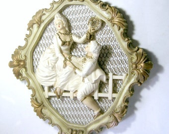 Vintage Chalkware Wall Decor, Lord and Lady Chalkware, White Gold Renaissance Style Chalkware, Shabby White Gold Chalkware Figure Plaque