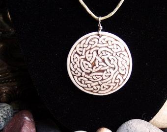 Handmade, relief carved porcelain Celtic knot pendant/necklace, black