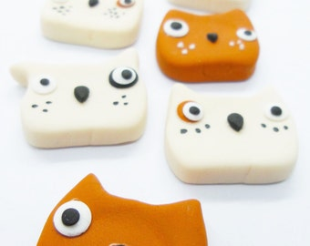 12 Miniature Polymer Clay Animals for Dollhouse and Beads Jewelry