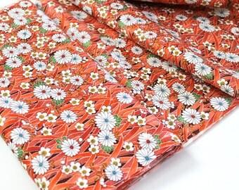 Vintage Kimono Silk Fabric retro mod Funky 70's Asian floral Japanese kimono fabric Orange cherry blossom chrysanthemum floral fabric 1yd