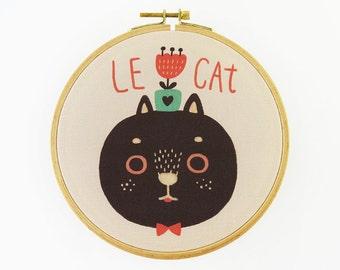 Le Cat Hoop Art - Canvas Print in Embroidery Hoop - Fabric Gallery Wall Art - Motivational Nursery Wall Art