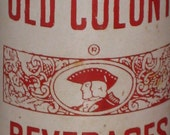 Antique Pop Bottle Soda Old Colony Beverages 1950s 8 oz Duraglas Minute Man Graphics Red White Old Glass Bottle