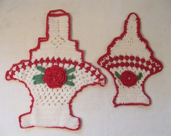Potholders - Vintage Pair of Crochet Red and White Rose Basket Pot Holders - Retro Kitchen Decor -