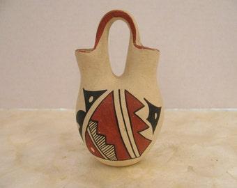 Vintage Jemez Pottery Wedding Vessel - D. Fragua - Signed - Native American - Southwest -