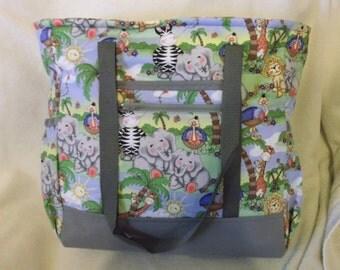 Grey Jungle Babies Diaper Bag, Tote, Carry On, Book Bag