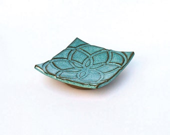 Aqua Spoon Rest, Soap Dish, Jewelry Dish - Ceramic, Pottery - One of Kind, Made in USA, Handmade
