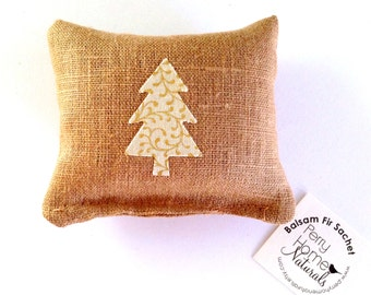 Balsam Fir Sachet in Linen with Mini Tree - Ivory Tree with Gold Accents- Maine Balsam Fir