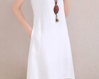 Simple wind White long sundress(more colour and size choice)-001