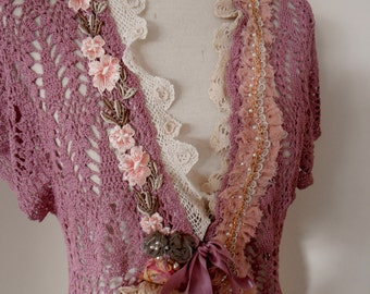 altered couture muted mulberry pink crochet cardigan, Upcycled crochet cardigan top, recycled beaded crochet lace cardigan