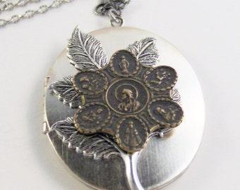 All Saints Locket,Saint Necklace,Saint Locket,Brass Jewelry,Saint JewelryReligious Necklace,Saint Necklace,Saints Medal,Valleygirldesigns