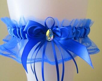 Royal Blue Prom Garter, Royal Blue Wedding Garter, Royal Bridal Garter w/ AB Crystal & Bow, Something Blue, Rustic- Country Bride
